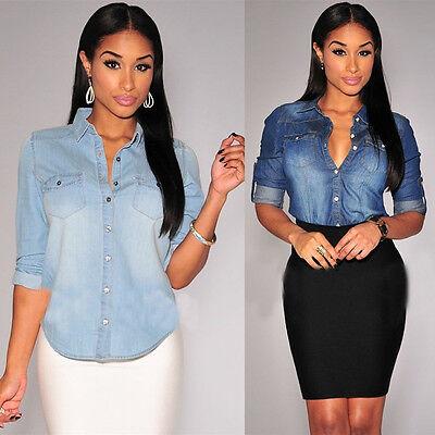 Retro Women Casual Blue Jean Soft Denim Long Sleeve Shirt Tops Blouse Jacket La