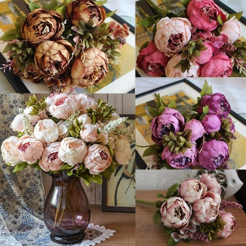 Artificial Silk Peony Flowers Home Wedding Party Bridal Bouquet Decor US STOCK