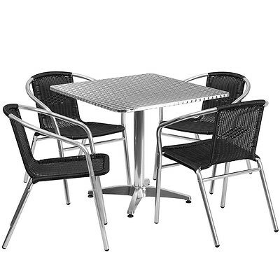 31.5square Aluminum Indoor-outdoor Restaurant Table With 4 Black Rattan Chairs