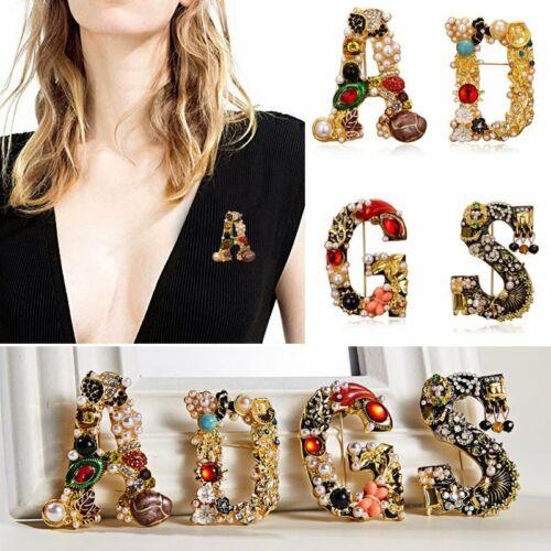 Jewellery - Luxury Letter Gold Pearl Crystal Women's Statement Fashion Brooch Pin Jewelry