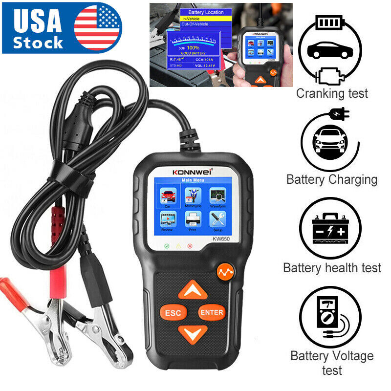 Automotive 12V Car Battery Load Tester Digital Analyzer Cranking Charging Tester Automotive Tools & Supplies