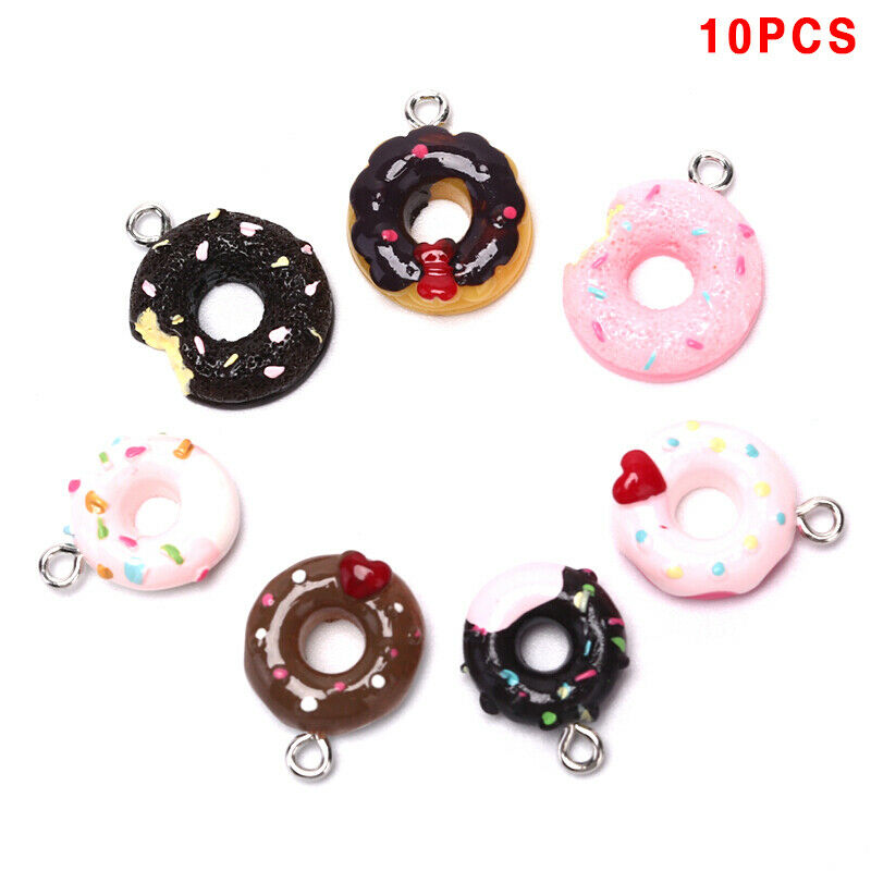 10Pcs/Set Resin Donuts Food Charms Pendants Jewelry FindGTF