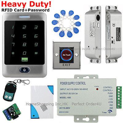 TOP Waterproof RFID Card+Password Access Control System+Drop Bolt Lock+Doorbell