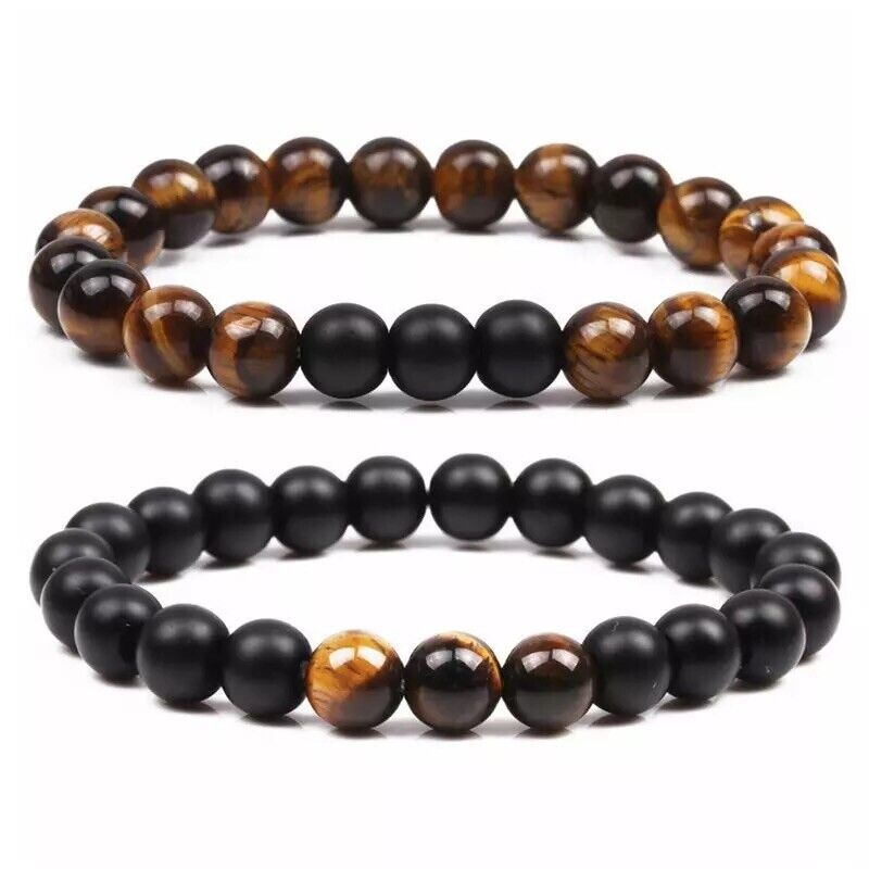 Men Women Natural Stone 8mm Tiger Eye Or Matt Black Elastic Beads Bracelet B11 Bracelets
