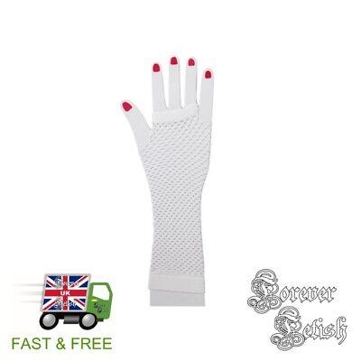 Sexy Halloween White Fishnet Gloves Retro Raver Fancy Dress Costume Fetish UK](Raver Costume Halloween)