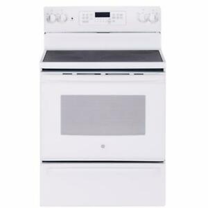30'' White Range, Convection Oven and Glass-Ceramic Cooktop
