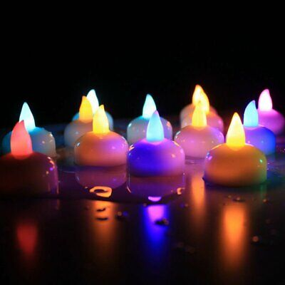 12x LED Kerze Teelichter Wasserdichte Schwimmende Wassersensor mit Farbwechsler