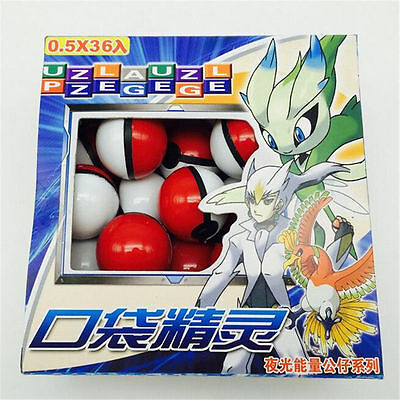 36pcs/lot Pokemon Pocket Monsters Pokeball small mega glowing model toy Gift New