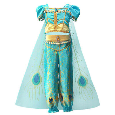 Kids Girls Aladdin Costume Cape Princess Jasmine Cosplay Halloween Fancy - Cape Girls