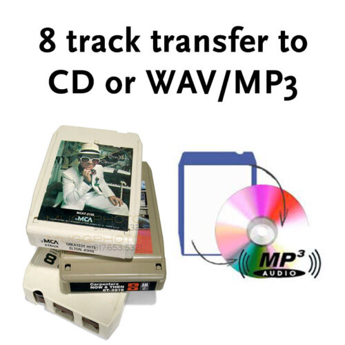 8 Track Audio Tape to CD or MP3  8-track Transfer Copy Convert Service
