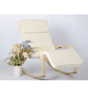 Wooden rocking chair reclining relax armchair birch chair for lounge