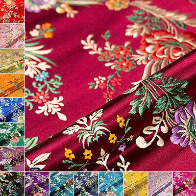 Chinesisch Cheongsam Seide Kunstseide Stoff Blumenmuster Brokat Kleid Kleidung ()