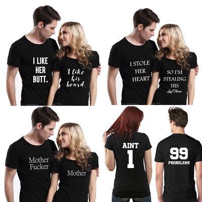 Frauen Mädchen Kurzarm T-shirts Paare passende T-Shirts S M L XL XXL (Paare Kostüm Mädchen)