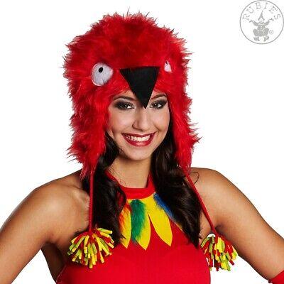 Rubies 11713 - Plüschmütze Papagei, Plüsch Mütze, Ara Rot, Kostüm - Roter Ara Kostüm