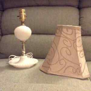 Milk glass lamp and shade
