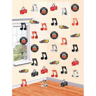 Classic 50s String Decorations ~1950's Rock & Roll Birthday Party Hanging Cutout (1950s Party)