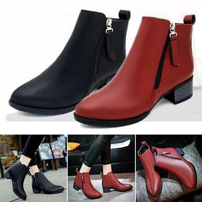 ff0067869d7 Details about Elegant Women's Pu Leater Flat Ankle Boots Ladies Side Zip  Low Cuban Heel Shoes