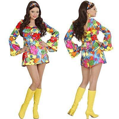 KOSTÜM FLOWER GIRL - Damen Karneval 70er Jahre Hippie Flower Power Schlagermove