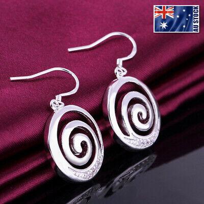 Women 925 Sterling Silver Filled Spiral Pendant Crystal Dangle Earrings Stunning