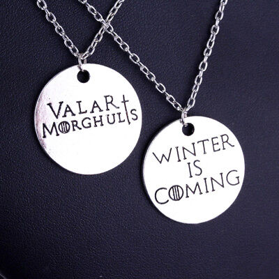 VALAR MORGHULIS, Winter is Coming Game of thrones inspired necklace set