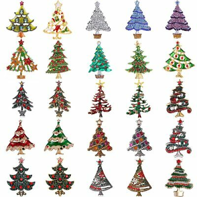 Fashion Xmas Christmas Tree Crystal Brooches Pins Women Jewelry Party Holiday ()
