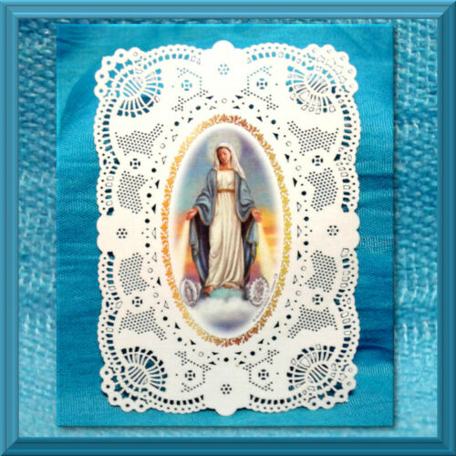 Catholic Holy Card Lace Deluxe Embossed Cardstock Our Lady of Grace The Memorare