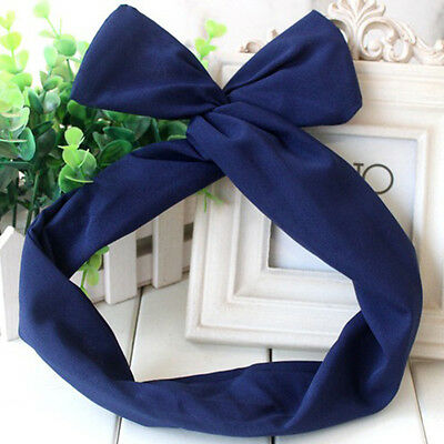 50's BUNNY TIE BOW BENDY WIRE / WIRED HAIR SCARF HEAD WRAP BAND LADY HEADBAND s