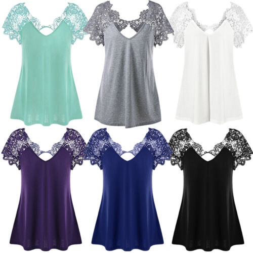 Sexy Damen Kurzärmelig Spitze Elegant T-Shirt Freizeit Locker Bluse-Oberteile