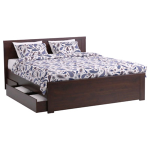 Ikea Brusali double bed frame with storage drawers