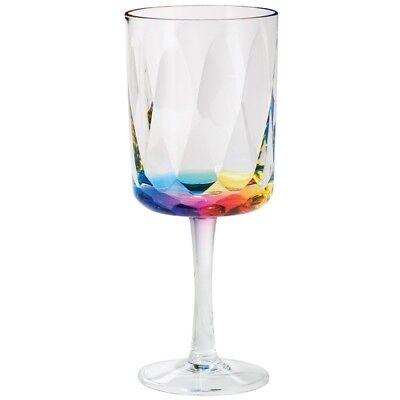 MERRITT RAINBOW PRISM 14OZ ACRYLIC WINE GLASSES SET OF FOUR - OUTDOOR GLASSES