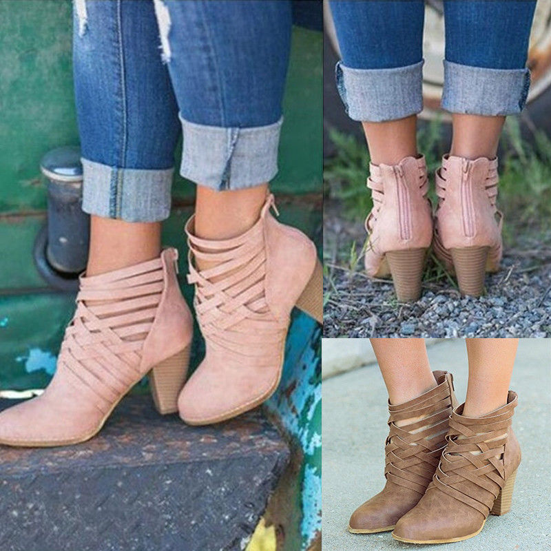 Women Ankle Boots Ladies Casual Chunky Booties Shoes 6-10.5