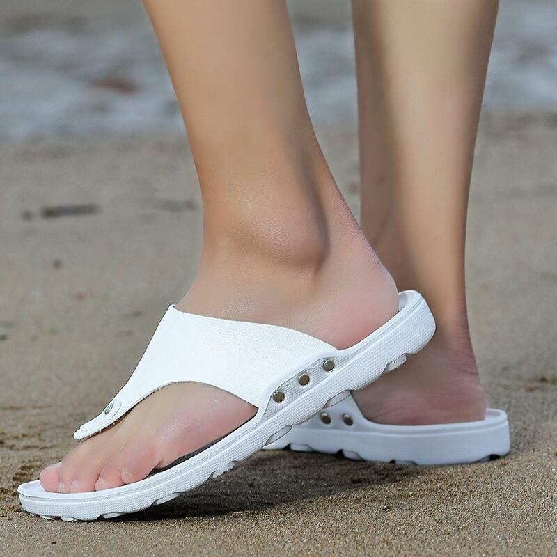 Mens Wide Beach Sandals with Arch Support Teenage PU Leather