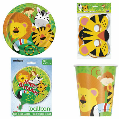 Jungle Themed Table Covers (Zoo Animals Jungle Theme Party Cups Plates Table Cover Mask School Picnic)