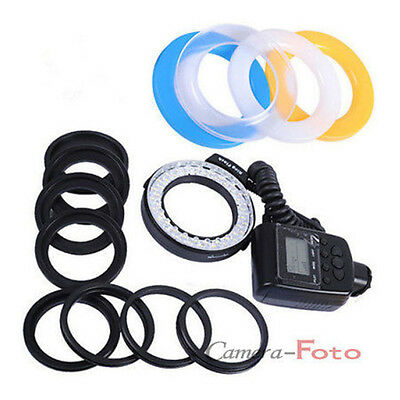 Sale 48 LED Macro Ring Flash Continuous Light 8 Lens Adapter fit for Canon Nikon