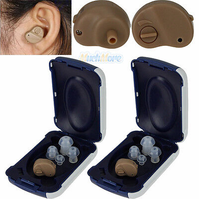 2X Small In The Ear Invisible Best Sound Amplifier Adjustable Tone Hearing Aids