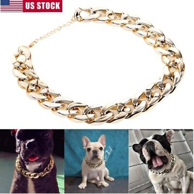 Puppy Necklace (Silver Gold Pet Dog Curb Cuban Chain Collar Puppy Necklace For Pitbull)