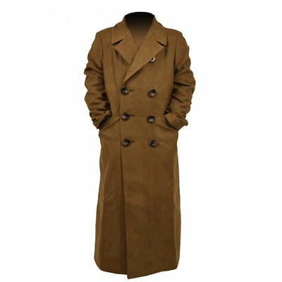 Hot! Doctor Who 10th Brown Long Coat Trench Coat Jacket Cosplay Costume AA.1081