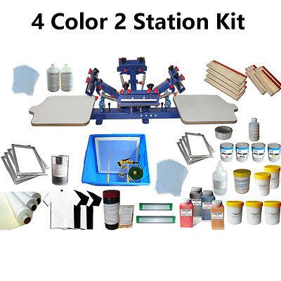 4 Color 2 Station Screen Printing Kit Press Printer Micro-adjust Silk Screen