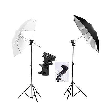 Photo Studio Flash Umbrella Lighting Stand Speedlite Mount B Bracket Holder Kit