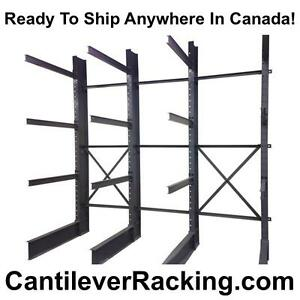We stock regular duty structural steel cantilever racking - pipe racks - lumber racking - sheet metal rack