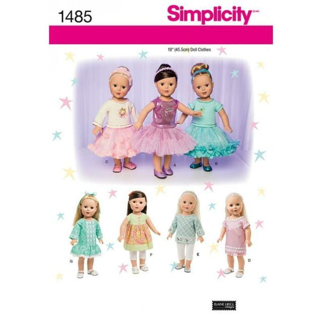 SIMPLICITY SEWING PATTERN 18 INCH (45.5CM) DOLL CLOTHES TOP DRESS TUNIC 1485