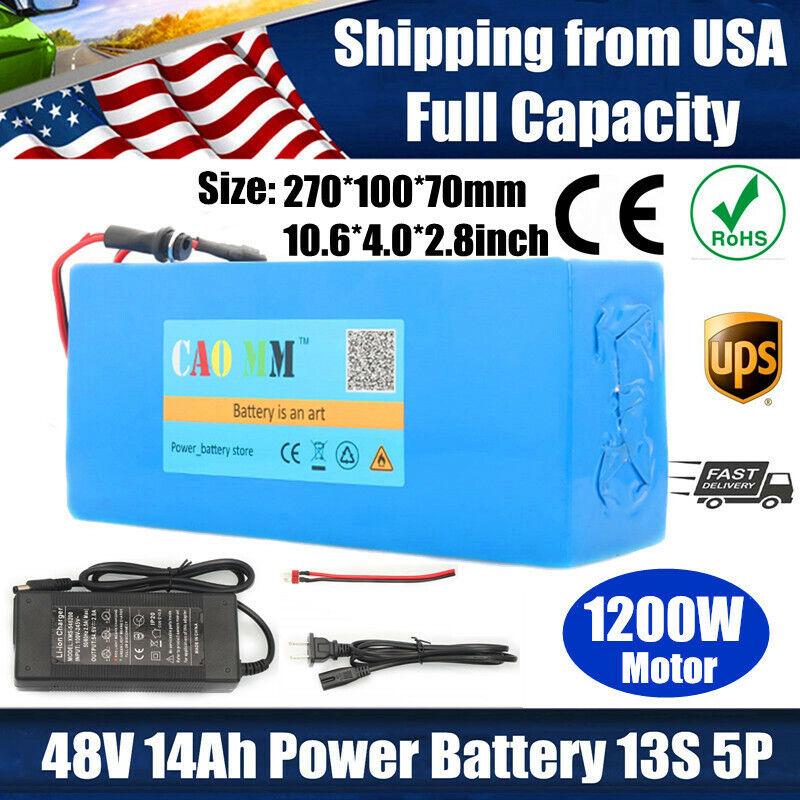 48V 14Ah Lithium li-ion Battery Pack 1200W ebike Bicycle E Bike Electric Charger