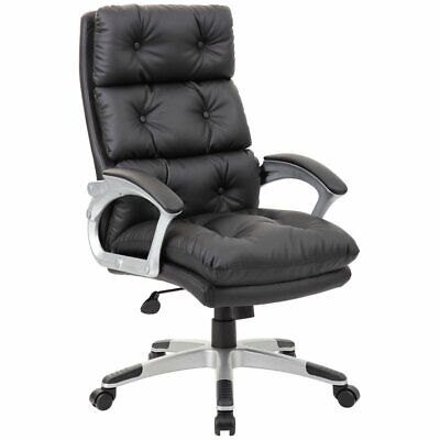 Boss Office Leather Tufted Swivel Executive Office Chair In Black