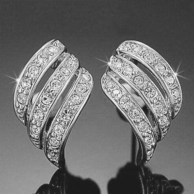 ANGEL'S WINGS Rhinestone Crystal Element 18-KRGP White Gold Plated Stud -