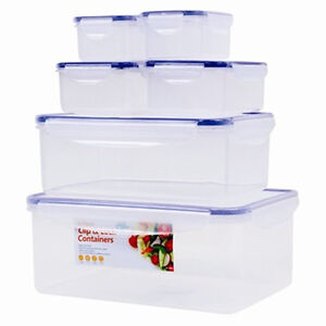 SET OF 6 KITCHEN FOOD STORAGE TUPPERWARE CONTAINER PLASTIC CLIP LOCK AIRTIGHT