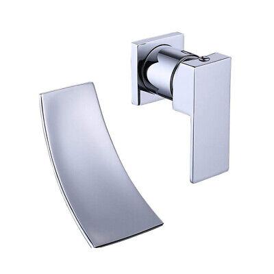 Chrome Wall Mount Bathtub Faucet Waterfall Tub Filler Brass Bathroom Mixer Tap Chrome Wall Mounted Bathroom Faucet