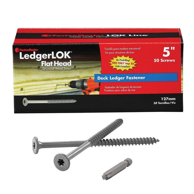 "Fastenmaster Ledgerlok Flat Head Wood Screw - Box Of 50 - 5"""