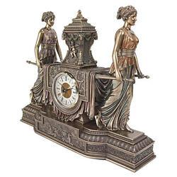 Versailles Maidens Sculptural Design Toscano Hand Sculpted 11½ Mantel Clock