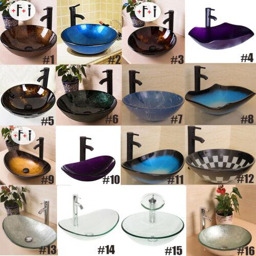 Bathroom Vessel Sink Tempered Clear Glass Vanity Basin Bowl