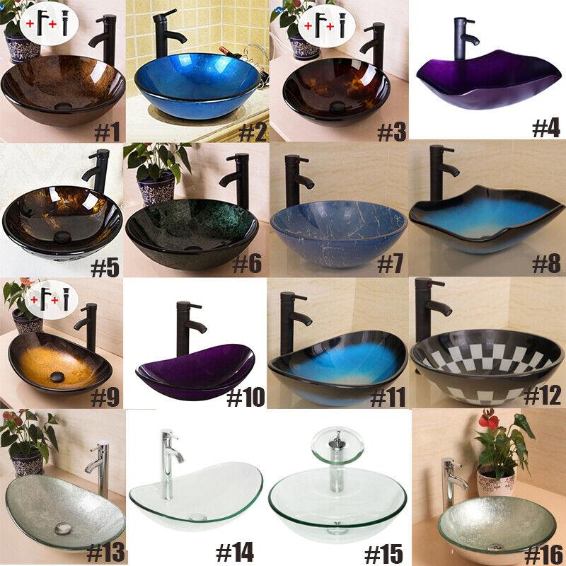 Bathroom Vessel Sink Tempered Glass Vanity Basin Bowl w/ Faucet & Drain Combo